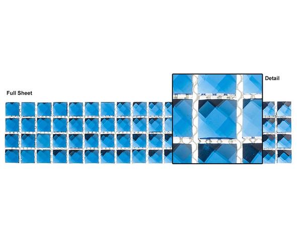 Kasbah - KS449 Twilight Treasure - 2.5 X 12 Jewel Mirror Glass Tile Mosaic Border Liner Strip - Sample