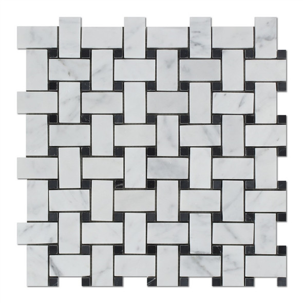 Carrara White Marble - Basketweave Pattern Mosaic Tile - Black Dot - HONED