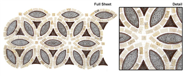 Tranquil Flower - TS-961 Roman Bloom - Crackle Jewel Glass & Natural Stone Mosaic Tile - Sample