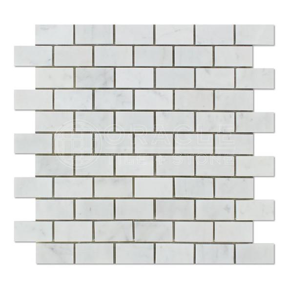 White Carrara Marble - 1 X 2 Subway Brick Mosaic - Polished- Premium Italian Carrera Natural Stone