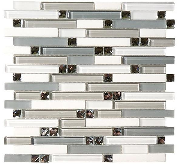 Symphony - SPS-1507 Restful Afternoon - 5/8 X Random Brick Linear Glass & Natural Stone Mosaic Tile - Sample
