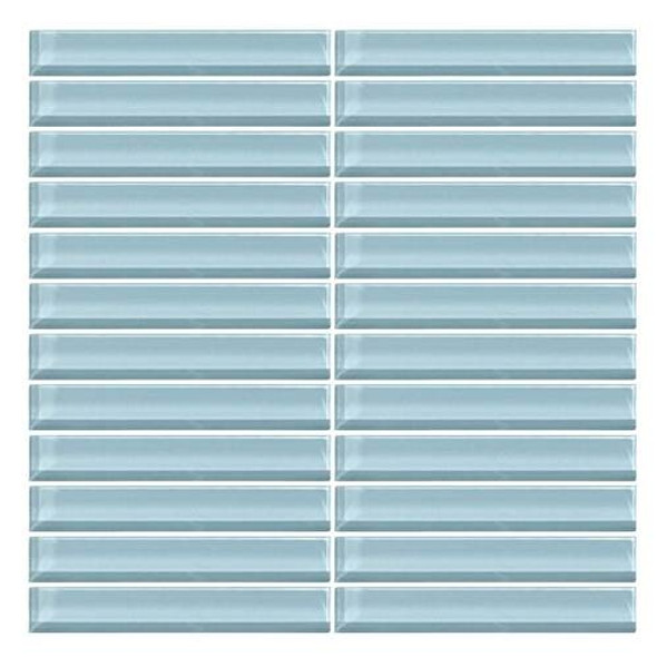 Supplier: Daltile, Series: Color Wave, Name: CW13 Blue Lagoon- Glossy, Color: White, Category: Glass Tile, Size: 1 X 6
