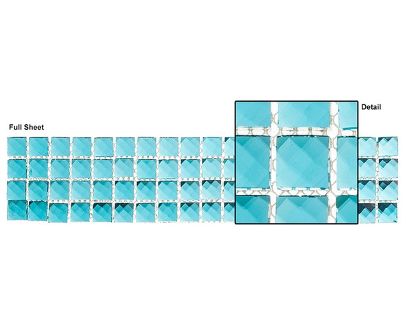 Kasbah - KS450 Peacock - 2.5 X 12 Jewel Mirror Glass Tile Mosaic Border Liner Strip