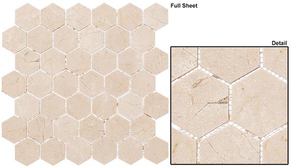 "Colonial - CLNL-279 Village Square - 2"" Hexagon Marble Stone Mosaic - Sample"