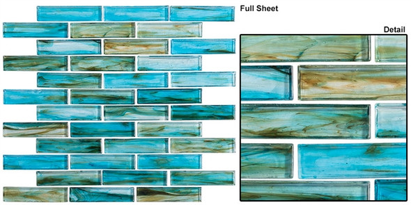 Oyster Cove - OTC-1202 Inspiration Teal - Linear Subway Brick Strip Glass Mosaic Tile