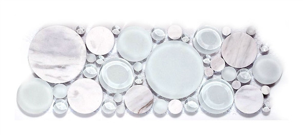 Round Bubble Glass & Natural Stone Marble Mosaic Border - B100 White Dove - Listello Border - Sample