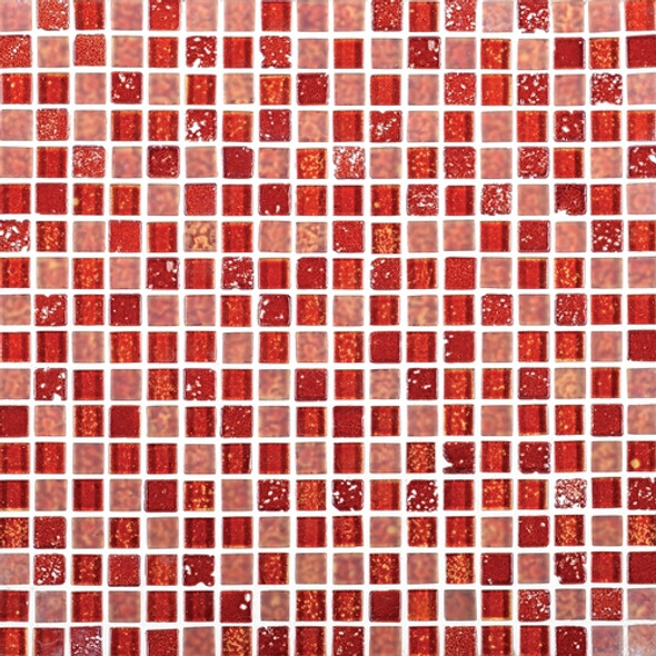 Daltile Marvel Mosaic - MV31 Ruby - 5/8 X 5/8 Glass Tile, Stone, and Metal Deco Tile Mosaic* SAMPLE *