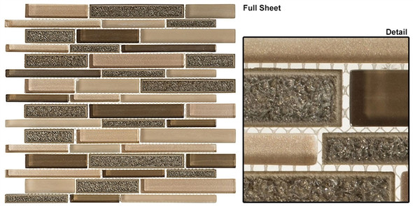 Bella Muro - BMS-244 Harbour Beige - Random Brick Linear Crackle Jewel Glass Mosaic Tile
