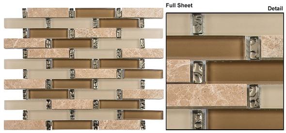 Interlace - INT-253 Promenade - 7/8 X 3-7/8 Brick Linear Glass & Natural Stone Mosaic Tile - Sample