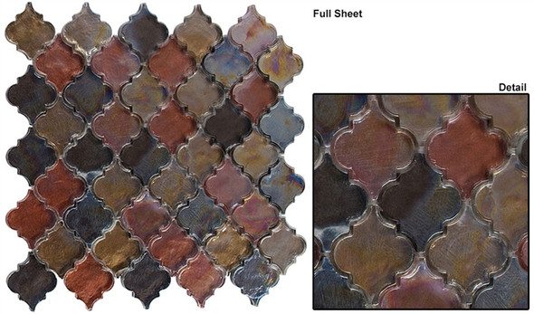 Dentelle Arabesque Glass Tile Mosaic - DTL-3001 Spectrum Ridge - Moroccan Style Glass - Iridescent Gloss