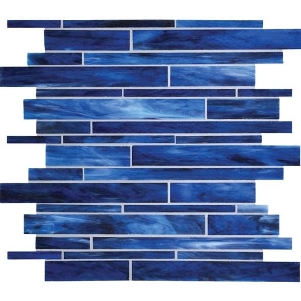 Daltile Serenade Stained Glass Mosaic - F181 Memphis Blues Blend - Random Linear Glass Tile Mosaic * SAMPLE *