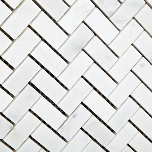Carrara White Marble - Mini Herringbone Pattern Marble Mosaic Tile - 5/8 X 1-1/4 - POLISHED - Sample