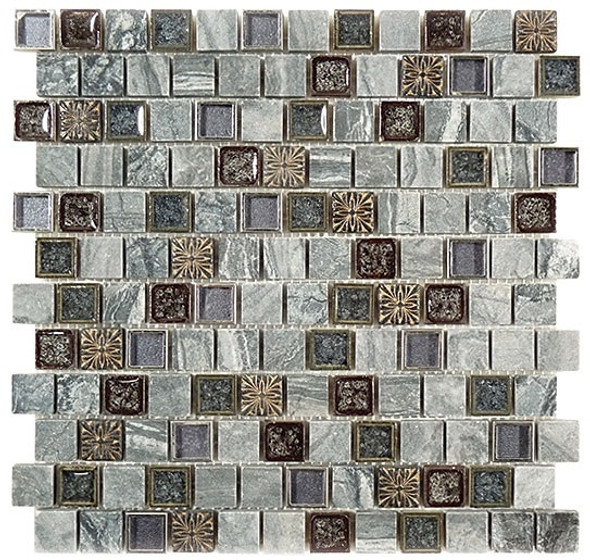 Tranquil Offset - TS-928 Blue Moon - 1X1 Crackle Jewel Glass & Natural Stone Decorative Mosaic Tile - Sample