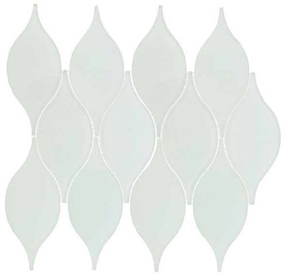 Windchime - WCS07 Cloudy Breeze - Flame Shape Glass Mosaic Tile - Sample