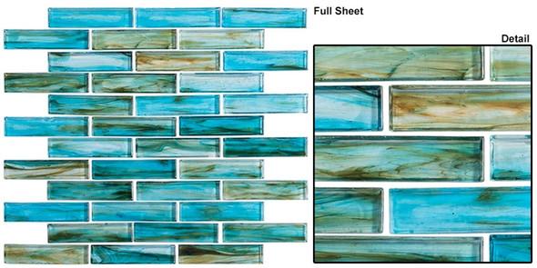 Oyster Cove - OTC-1202 Inspiration Teal - Linear Subway Brick Strip Glass Mosaic Tile - Sample