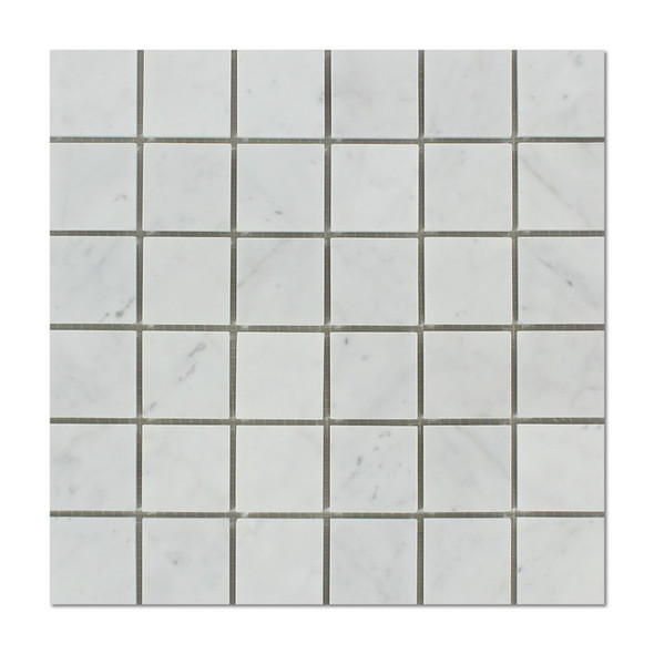 Italian White Carrara Marble - 2 X 2 Square Mosaic - Honed - Premium Carrera From Italy