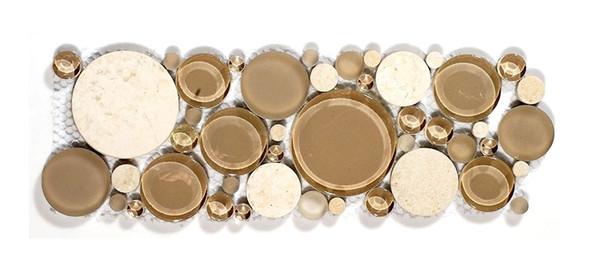 Round Bubble Glass & Natural Stone Marble Mosaic Border - B200 Sable Brown - Listello Border - Sample