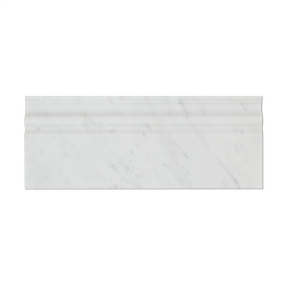 Italian White Carrara Marble - 5 X 12 Baseboard Base Molding - Honed Finish