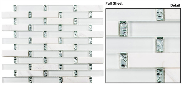 Interlace - INT-254 Ice Basket - 7/8 X 3-7/8 Brick Linear Glass & Natural Stone Mosaic Tile - Sample