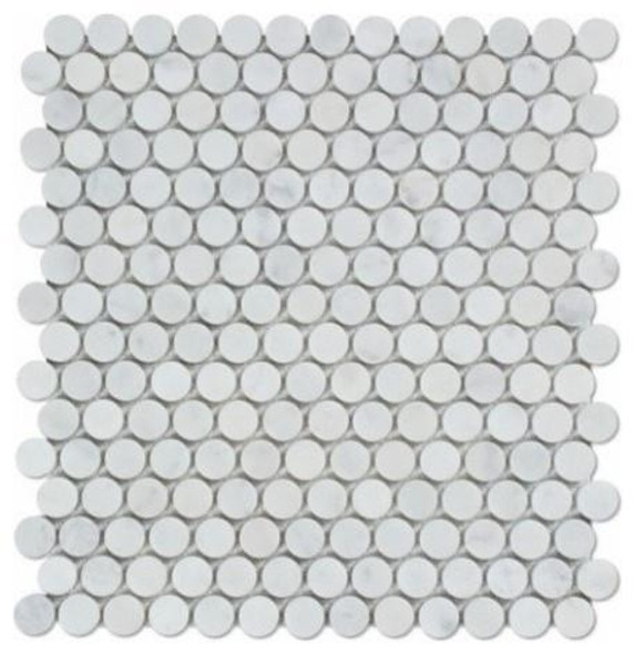 Carrara White Marble - Penny Rounds Mosaic Tile - HONED - Sample