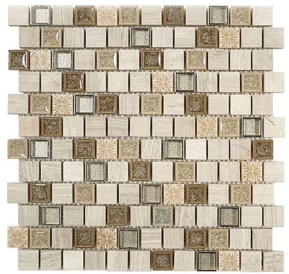 Tranquil Offset - TS-929 Grey Heron - 1X1 Crackle Jewel Glass & Natural Stone Decorative Mosaic Tile - Sample