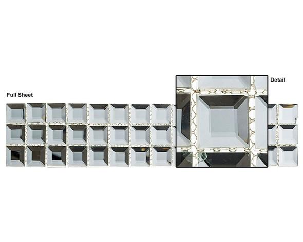 Kasbah - KS541 Crystal Lantern - 2.5 X 12 Beveled Mirror Glass Tile Mosaic Border Liner Strip - Sample
