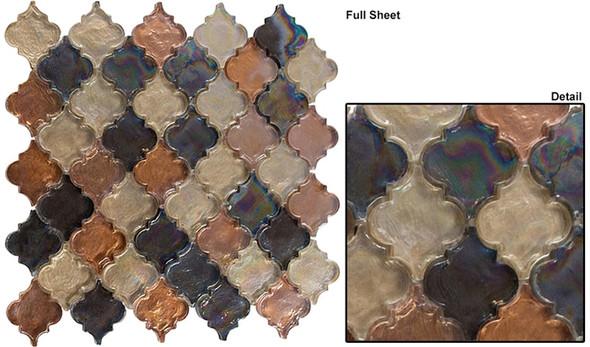 Dentelle Arabesque Glass Tile Mosaic - DTL-3002 Desert Range - Moroccan Style Glass - Iridescent Gloss - Sample