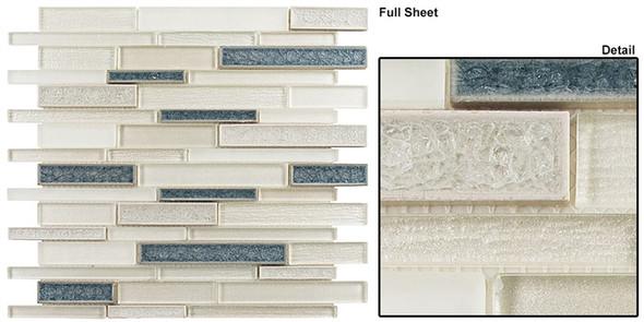Bella Muro - BMS-245 Glacier Lake - Random Brick Linear Crackle Jewel Glass Mosaic Tile - Sample