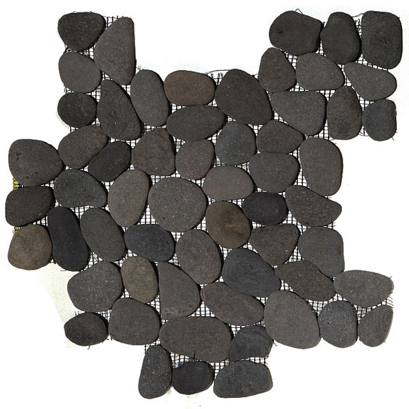 River Rock Pebble Stone Mosaic - Bali Black Interlocking Pebble Mosaic * SAMPLE *