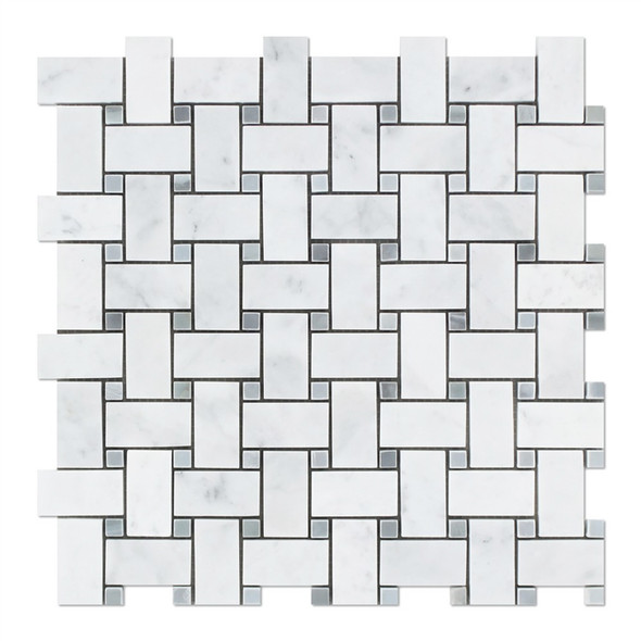 Carrara White Marble - Basketweave Pattern Mosaic Tile - Blue Gray Dot - HONED - Sample