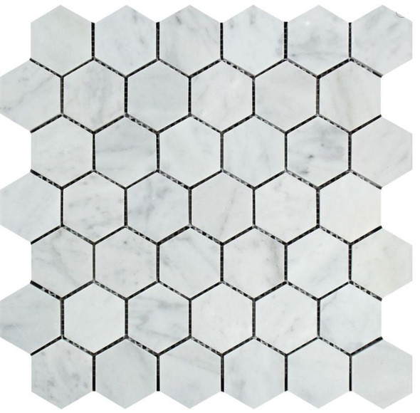 White Carrara Marble - 2 X 2 Hexagon Mosaic - Polished - Premium Italian Carrera Natural Stone