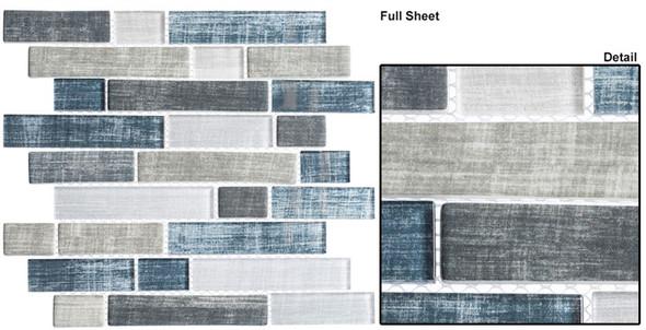 Textile - TXT 6411 Blue Denim - Random Subway Brick Shape Glass Mosaic - Sample