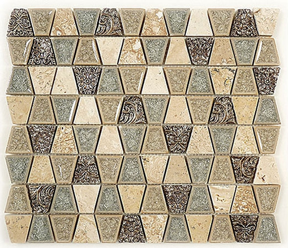 Tranquil Trapezoid - TS-930 Tender Harbor - Crackle Jewel Glass & Natural Stone Decorative Mosaic Tile - Sample