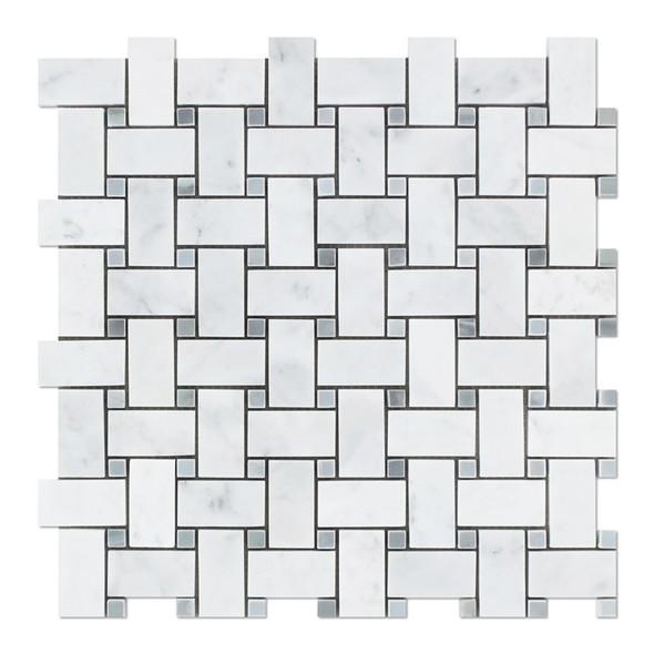 Carrara White Marble - Basketweave Pattern Mosaic Tile - Blue Gray Dot - POLISHED - Sample