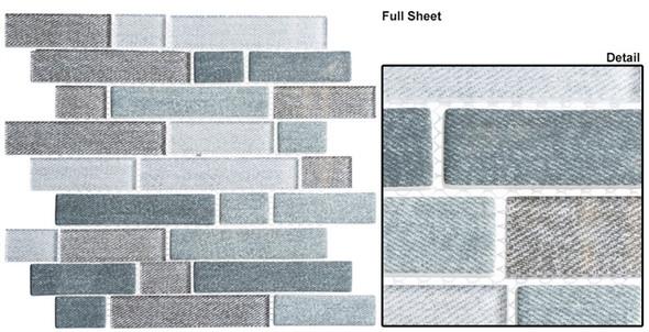 Textile - TXT 6412 Harris Tweed - Random Subway Brick Shape Glass Mosaic - Sample
