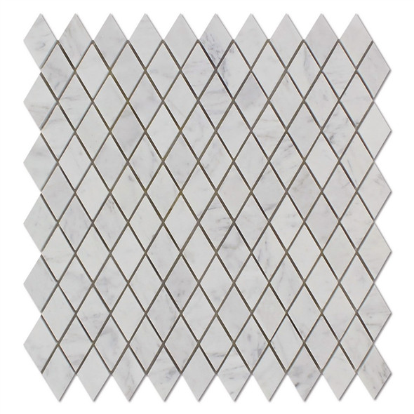 Carrara White Marble - Diamond Rhomboid Marble Mosaic Tile - 1 X 2 - HONED
