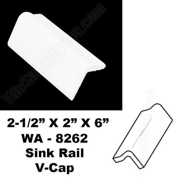 Daltile - 0190 Arctic White - Sink Rail V Cap WA8262 - 2.5 X 2 X 6 Counter Top Edge Trim Ceramic Tile