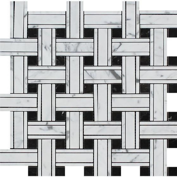 Carrara White Marble - Triple Basket Weave Pattern Mosaic Tile - Black Dot - HONED - Sample