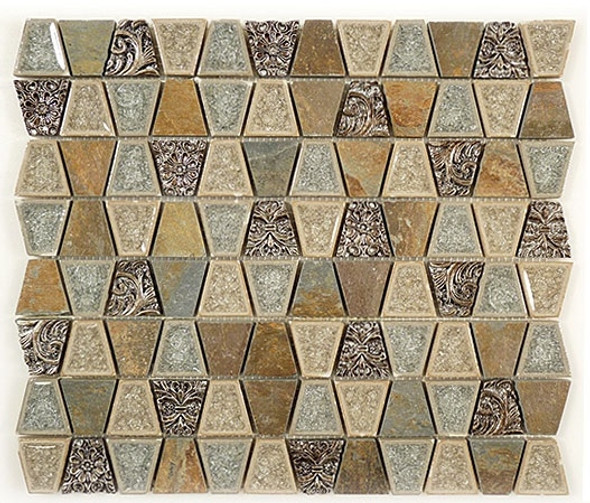 Tranquil Trapezoid - TS-931 Soft Mushroom - Crackle Jewel Glass & Natural Stone Decorative Mosaic Tile - Sample