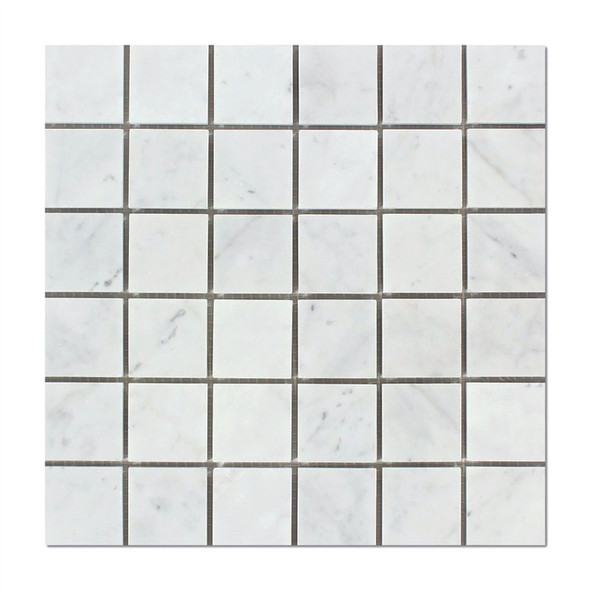 Italian White Carrara Marble - 2 X 2 Square Mosaic - Polished - Premium Carrera From Italy