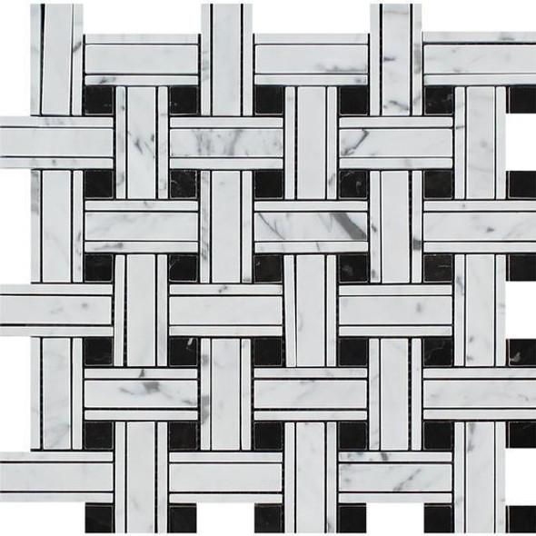 Carrara White Marble - Triple Basket Weave Pattern Mosaic Tile - Black Dot - POLISHED - Sample