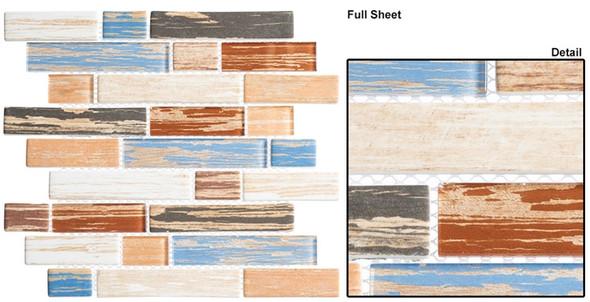 Textile - TXT 6413 Indigo Stonewash - Random Subway Brick Shape Glass Mosaic - Sample