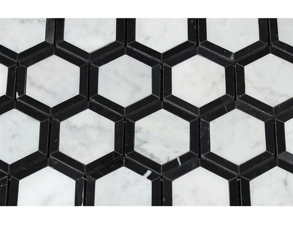 White Carrara Marble - 2 X 2 Vortex Hexagon With Black Mosaic - Honed - Premium Italian Carrera Natural Stone