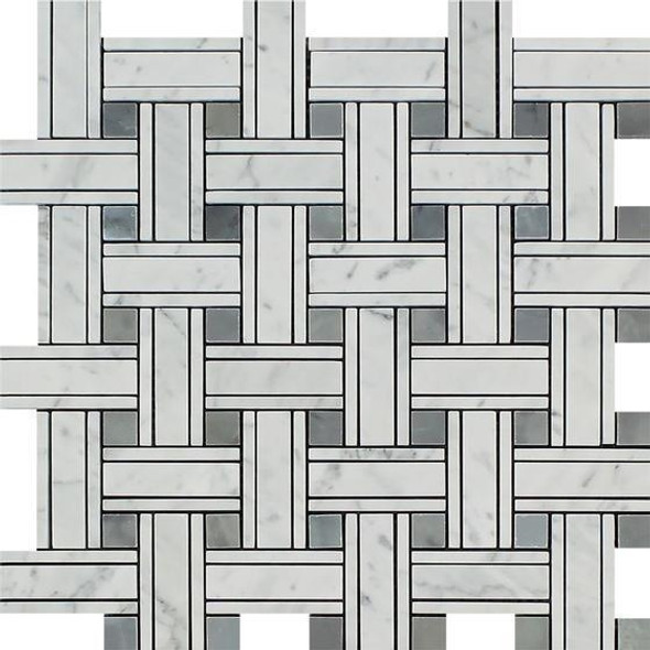 Carrara White Marble - Triple Basket Weave Pattern Mosaic Tile - Blue Gray Dot - POLISHED