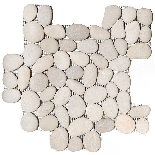 River Rock Pebble Stone Mosaic - Maluku Tan Interlocking Pebble Mosaic * SAMPLE *