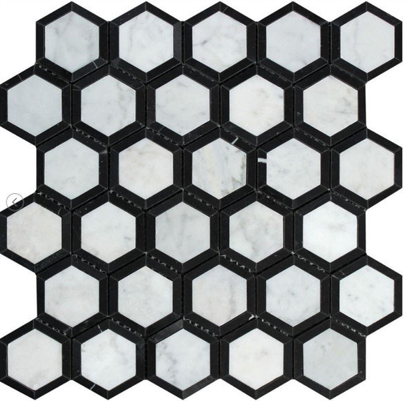 White Carrara Marble - 2 X 2 Vortex Hexagon With Black Mosaic - Honed - Premium Italian Carrera Natural Stone - Sample