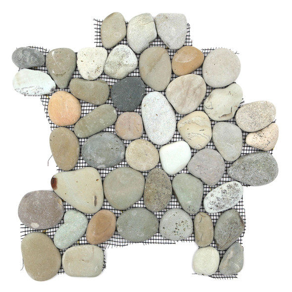 River Rock Pebble Stone Mosaic - Natural Olive Interlocking Pebble Mosaic * SAMPLE *