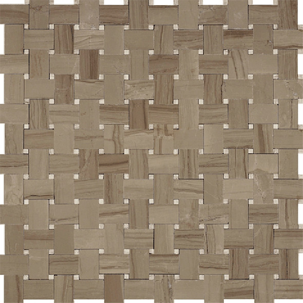 Basketweave Marble Mosaic Tile - Athens Gray with Wooden Beige Marble Dot - Polished * SAMPLE *