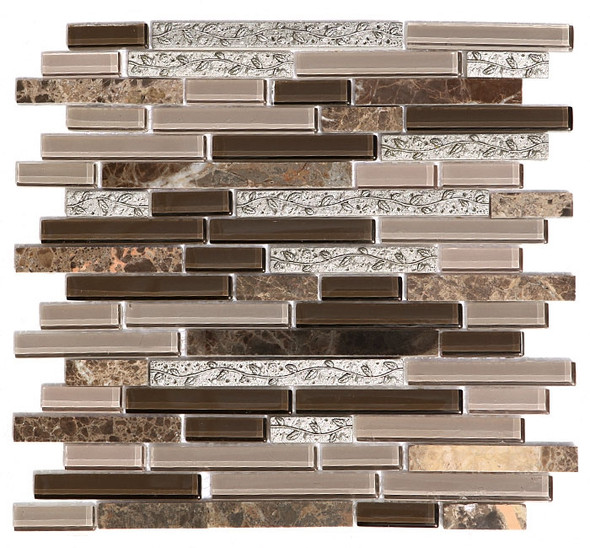 Supplier: Unicorn Tile, Name: GS4008, Type: Glass Tile, Emperador Dark Marble, and Decorative Metal Tile Mosaic, Size: 5/8 X Linear