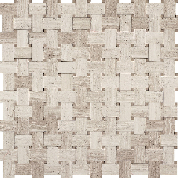 Basketweave Marble Mosaic Tile - White Oak Wood Silver Beige Basket Weave with Athens Gray Marble Dot - Polished * SAMPLE *